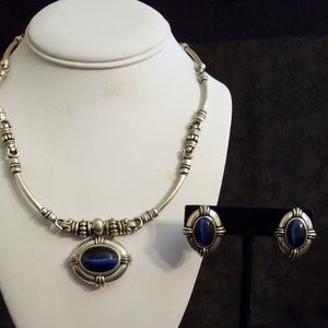 AVON Necklace Set - Blue and Silvertone